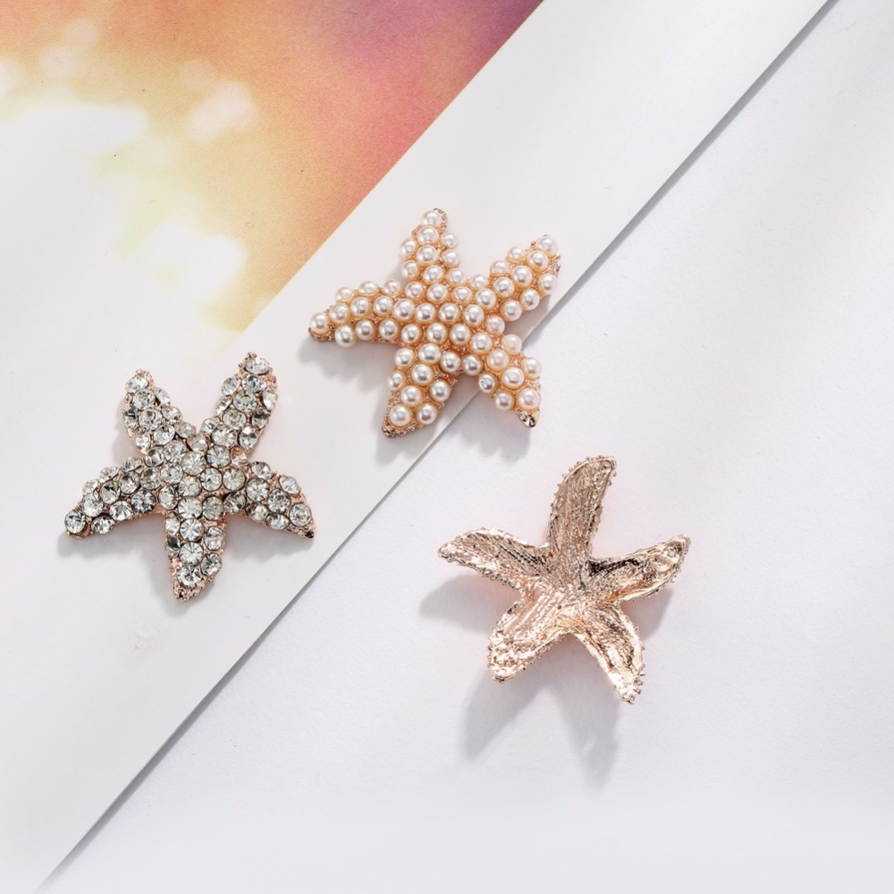 Free shipping 100PCS 28mm metal pearl rhinestone crystal starfish buttons embellishment flat back rose gold plating