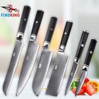 FINDKING Professional 6PCS Ladder Pattern Octagonal Handle 67 layers Damascus Steel Ebony Wood Chef Knife Set Kitchen Knife Set