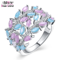 DreamCarnival 1989 Trendy Leaf Shape Pastel Light Pink And Blue Mix Color Jewelry Glitter Zircon Luxury