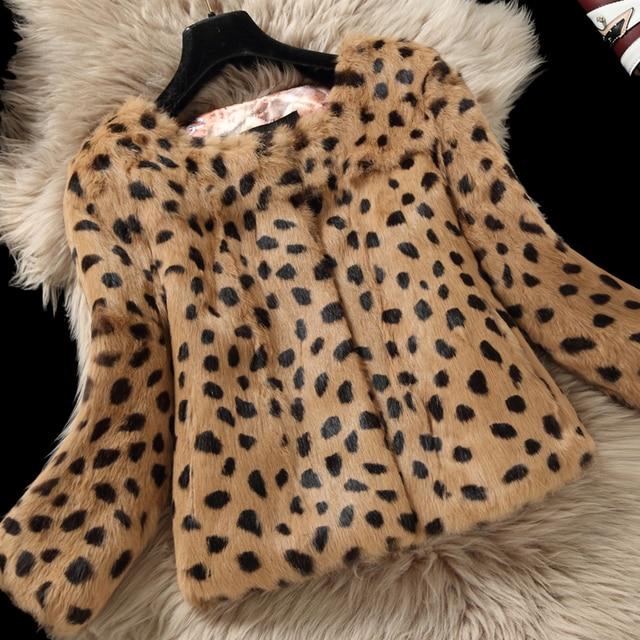ab8114b7bf38 Leopard Print Natural Rabbit Fur Jackets Outerwear Women O neck 3/4 Sleeve Genuine  Real Rabbit Fur Coats 2018 Autumn Winter