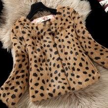Leopard Print Natural Rabbit Fur Jackets Outerwear Women O neck 3/4 Sleeve Genuine Real Rabbit Fur Coats 2018 Autumn Winter
