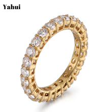 YaHui stainless steel gold simple ring high quality Full of with sto rings for women female ring female ring jewelry accessories yahui stainless steel simple heart gold silver rose gold ring rings for women accessories jewellery gifts for women jewellery
