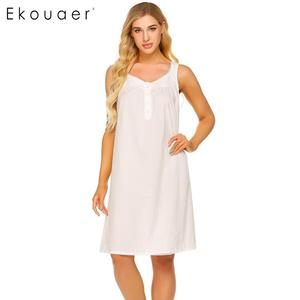 Image 3 - Ekouaer женская ночная рубашка из 100% хлопка, летнее платье без рукавов с v образным вырезом, плиссированная свободная ночная рубашка, женская одежда для сна