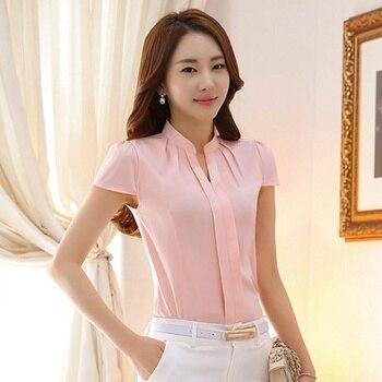 5f240ebd40d7 ROPALIA mujeres elegantes Tops de gasa de verano de manga corta Camisa de oficina  Blusas delgadas de Color sólido Blusas de mujer