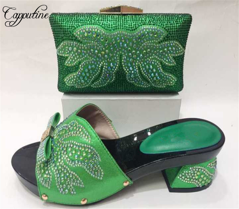 Capputine Italian Style Rhinestones Shoes And Bag Set African Style Pumps Shoes And Bags Set For Wedding Party Size 37-43 african fashion shoes with matching bag set for wedding party italian design nigeria women pumps shoes and bags mm1060