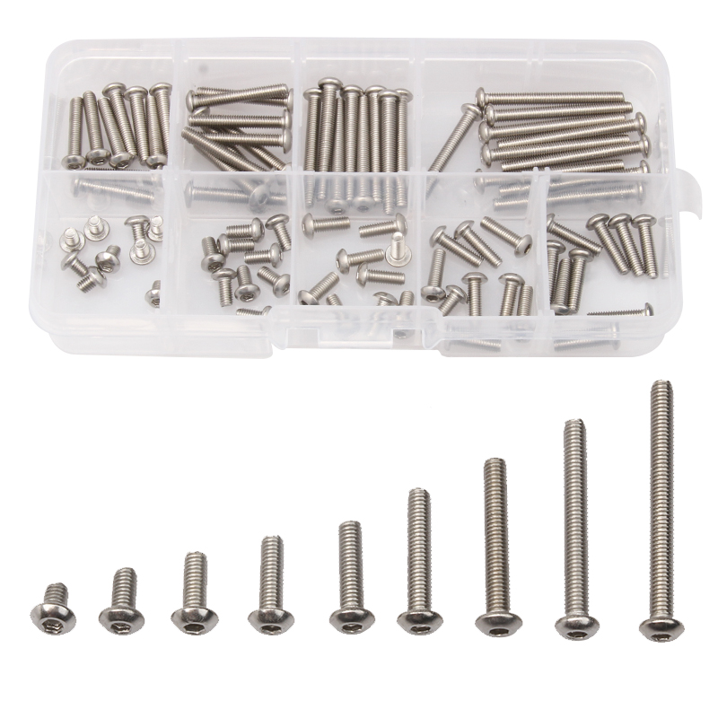 90PCS Stainless Steel Hex Screws Set Round Head Hexagon Screw Bolt M3*4/6/8/10/12/16/20/25/30 Kit Assorted For Machine 250pcs set m3 5 6 8 10 12 14 16 20 25mm hex socket head cap screw stainless steel m3 screw accessories kit sample box