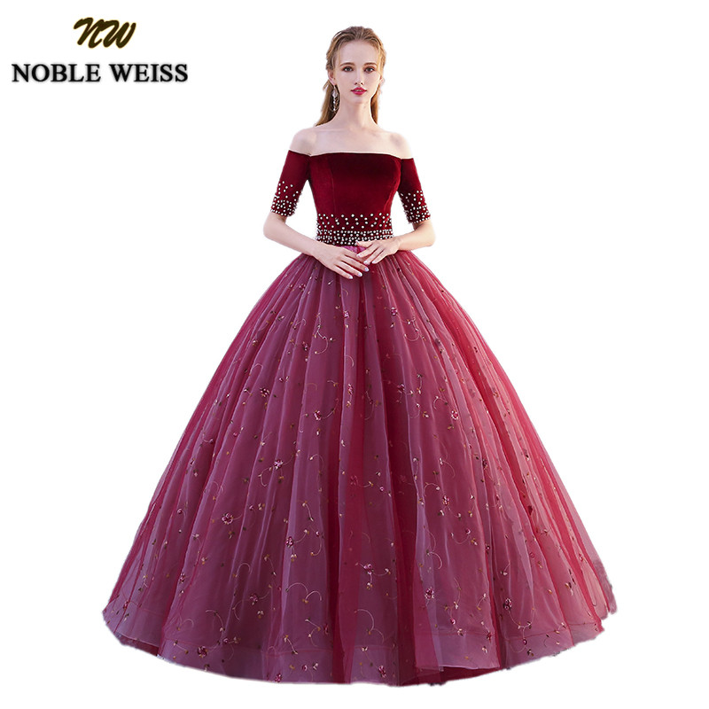 NOBLE WEISS Long Floor Length Quinceanera Dresses 2019 With Half Sleeves Ball Gown Vestidos de 15 anos Hot Sale Sweet 16 Dress