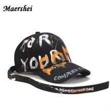 Maershei Fashion Huruf Graffiti Topi Baseball Pria Wanita Hitam Sabuk  Panjang GD Melengkung Tengkorak Cap Kepribadian Snapback T.. 3f0db48f39
