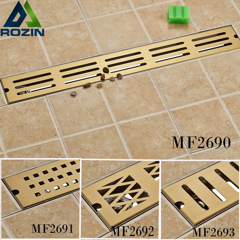 Luxury Golden 70cm Stainless Steel Anti-odor Floor Drain Bathroom Shower Floor Waste Drain stainless steel hand palm odor remover lasts forever