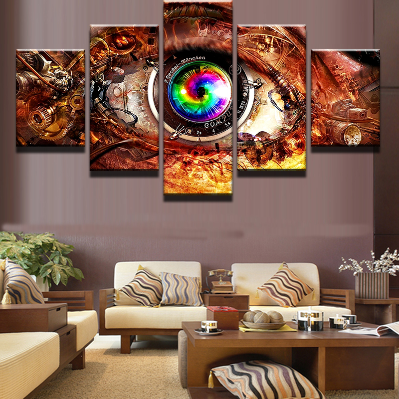 5 Pieces Movie Game Steam Punk Eye Wall Art Picture Home Decoration Living Room Canvas Print