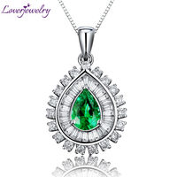 2014 New Jewelry Pear 5x7mm 18Kt White Gold Natural Diamond Emerald Gemstone Pendant