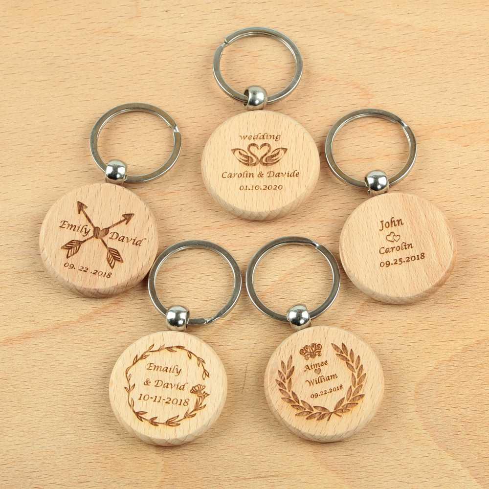 Personalize o nome do casamento tag chaveiro gravado chaveiro de madeira graduação presente publicidade promoção presentes favores de casamento presentes