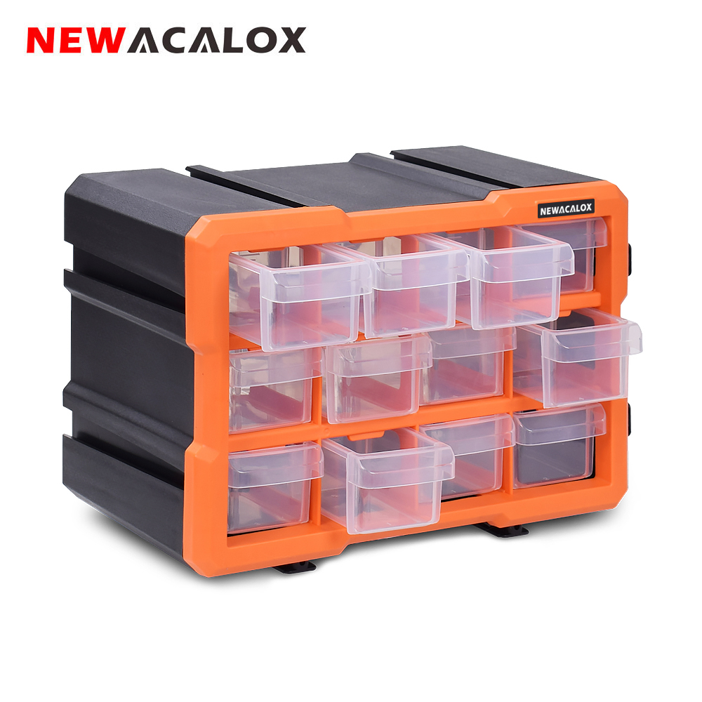 NEWACALOX 2-22 Drawer Hardware Craft Plastic Cabinet Wall Mount Toolbox Combination Stitching Storage Box High Quality Tool Case