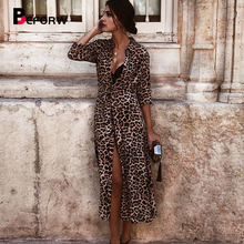 BEFORW Sexy V Neck Leopard Long Dress Women Vintage Elegant Party Maxi Dresses 2019 Casual Print Summer Vestidos