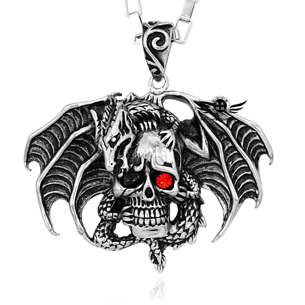 hot sale skull necklace pendant for men and boy jewelry Crow Funeral 3D Raven Bird Skull Pendant Necklace skull necklace raven skull