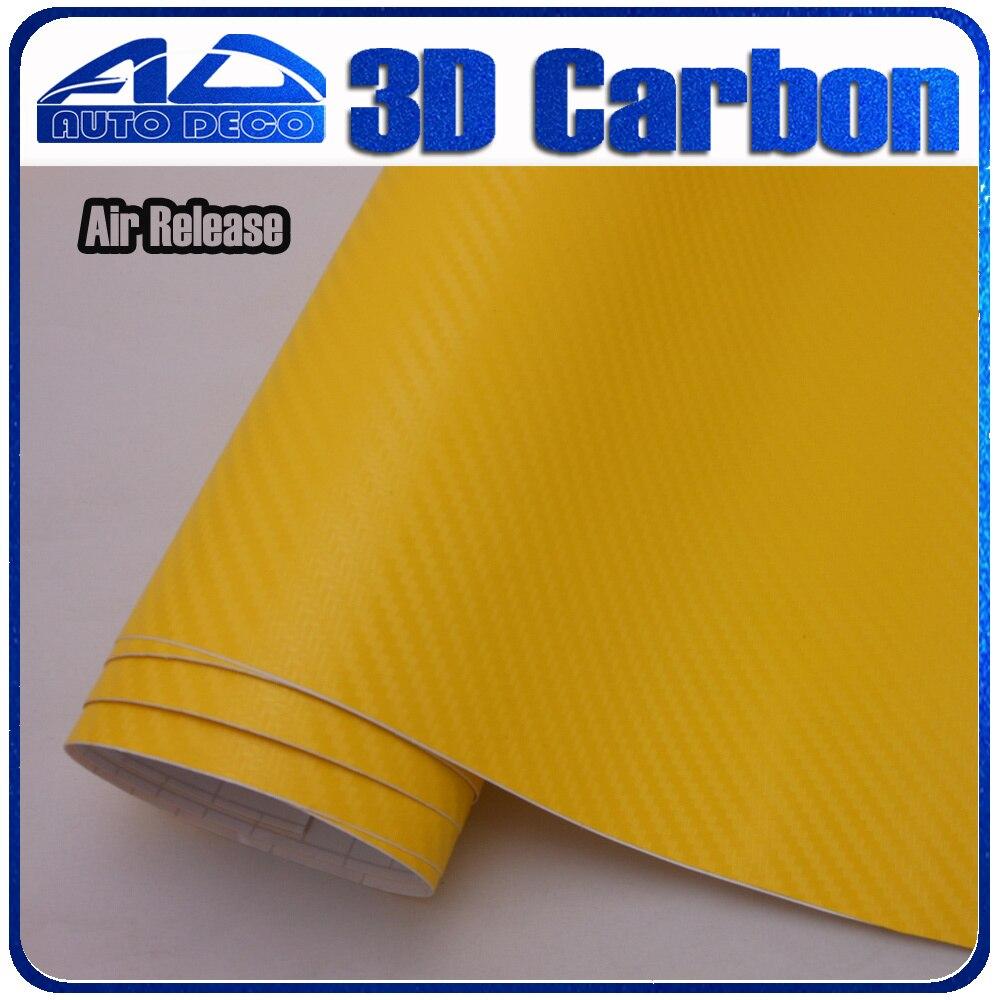 Поделки Фэшн выпуска воздуха желтый 3D углеродного волокна автомобиля обертывание пленка 17 цветовых вариантов наклейки Размер:1.52*30m Толщина: 0.13 мм