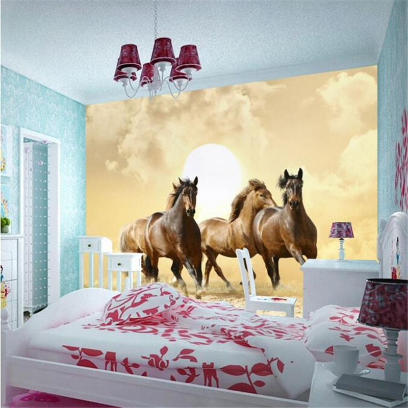 beibehang papel de parede 3D photo wallpaper 3d perspective galloping horse hotel bedroom living room painting mural wall paper custom horse wallpaper 3d pentium horse for living room bedroom tv background wall waterproof silk cloth papel de parede