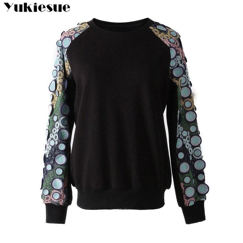 2018 automne hiver nouveau disque géométrique en trois dimensions broderie fleur collage o-cou à manches longues pull slim sweatershirt