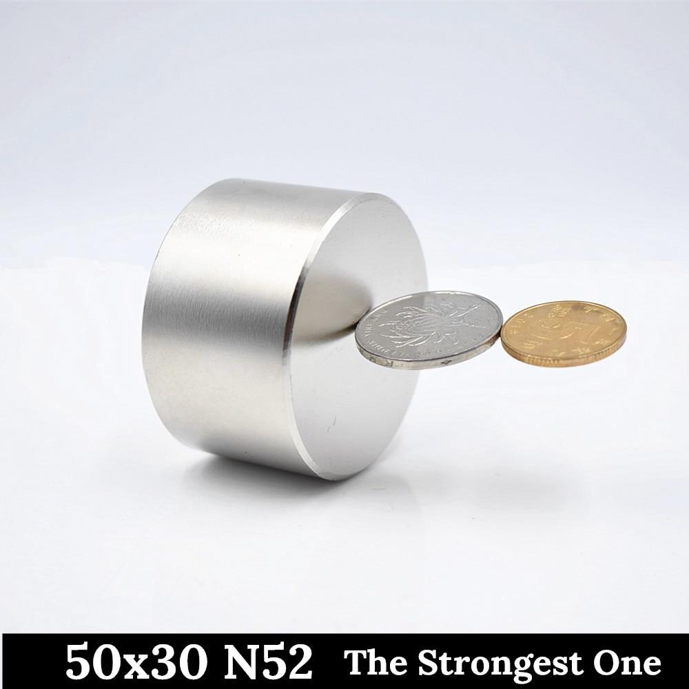 Купить с кэшбэком N52 Neodymium magnet 40x20 rare earth super strong powerful round permanent magnet 50X30mm search N35 N40 electromagnet