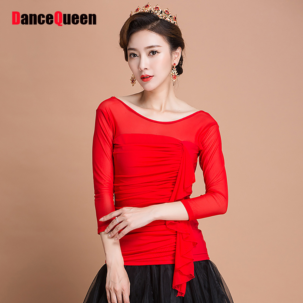 Good Sale Latin Dance Shirts For Ladies Red Colors Vary of Size Silk Jackets Woman Wonderful Modern Ballroom Dancing Tops Y088