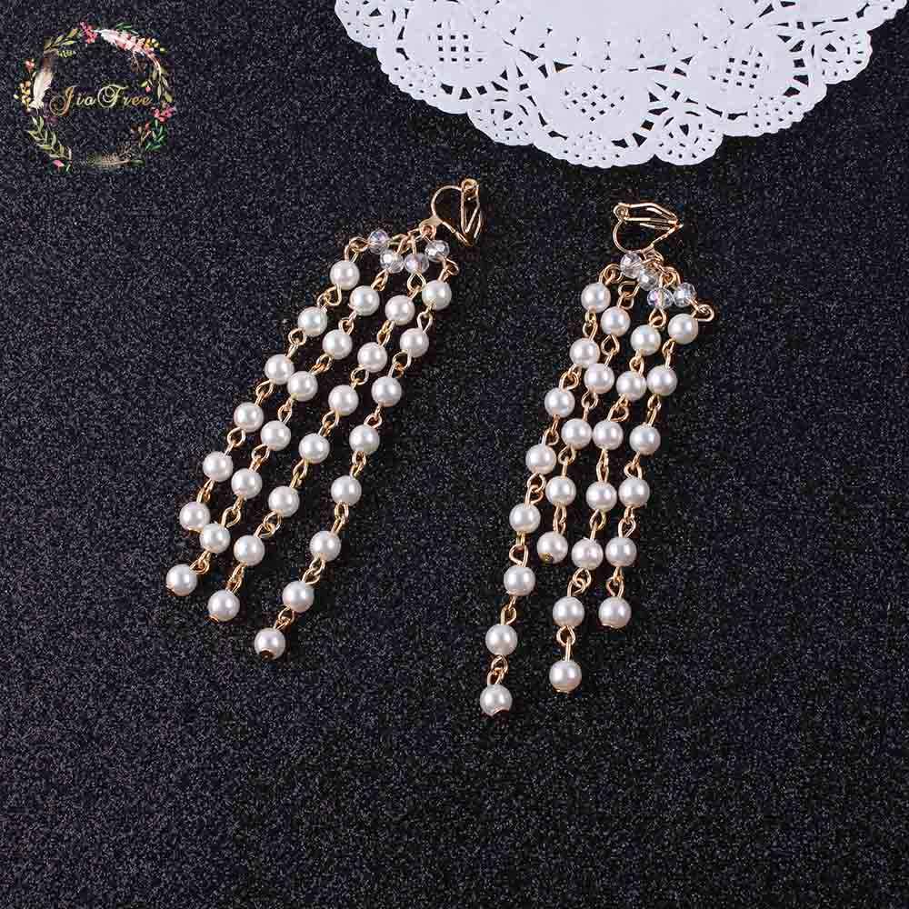 Bohemia women Clip Earrings Fashion Pearl Long Tassel Earrings chain Non Pierced Ear Clip On Earrings Women Girls Ear Cuff
