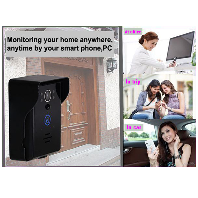Saful Wifi Ip Video Door Phone Intercom System With Indoor Doorbell Night Vision Detection Supporting Android & ios APP