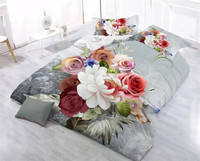 Cheap 3D Bedding Set flowers Printed Bed Duvet Cover with Pillowcase Home Textiles Queen Sizes 4pcs