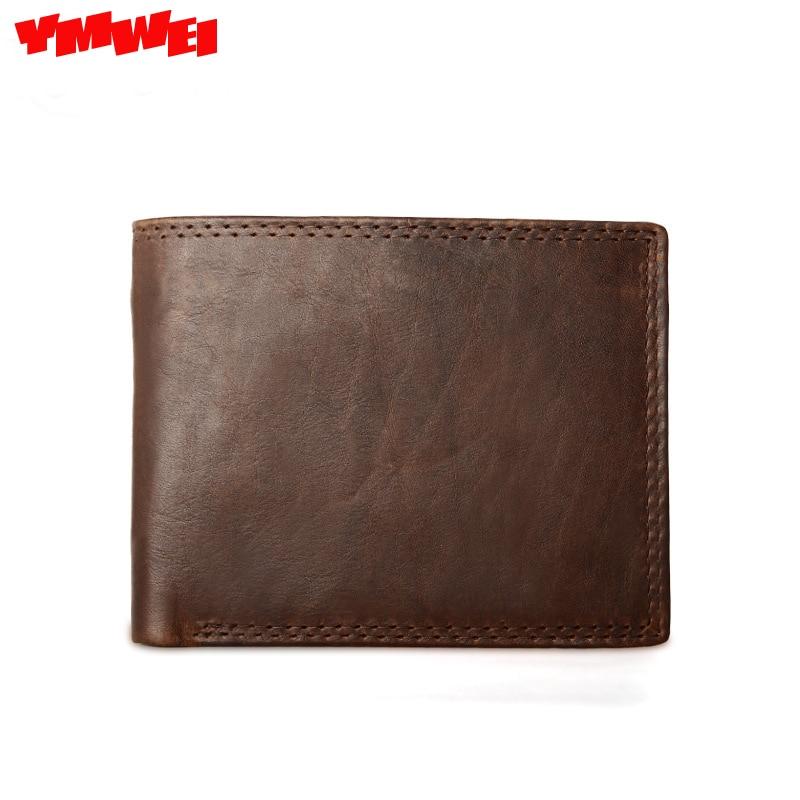 YMWEI Brand font b Men b font Genuine Leather Wallets Card Holder Luxury Purse Designer High