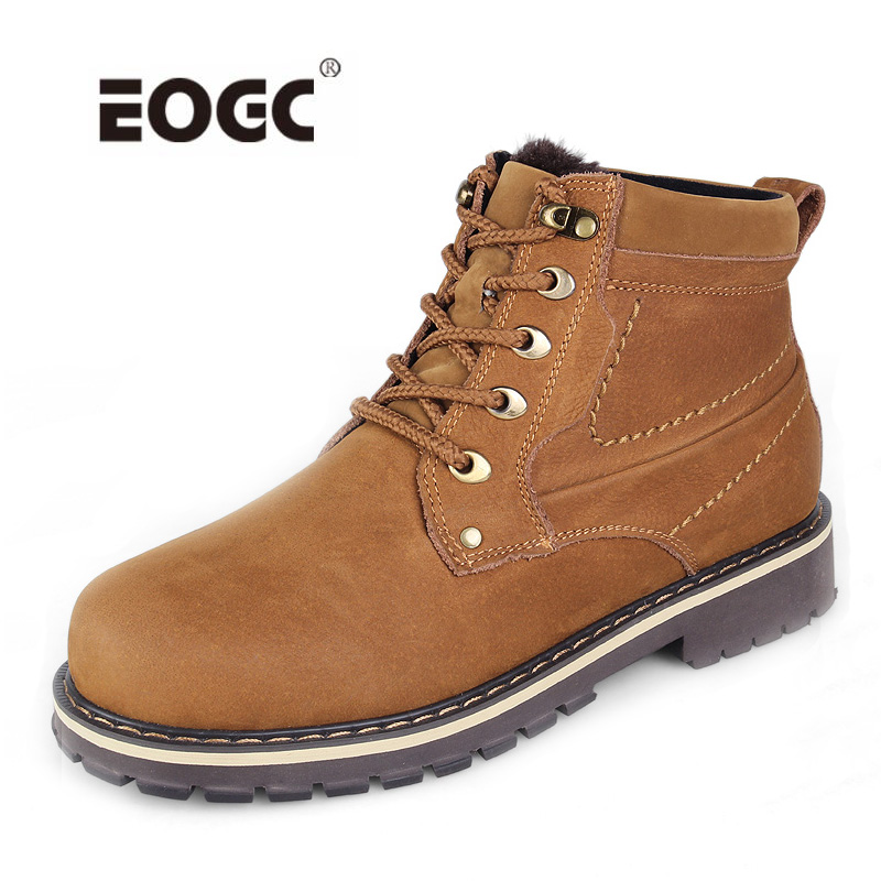 Full genuine leather men boots plus size top quality snow boots High quality men ankle boots waterproof men winter shoes size 37 49 full grain leather men boots top quality handmade plus size 2017 genuine leather men shoes hecrafted brand ls7511