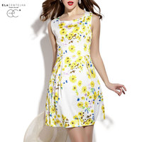 ElaCentelha Brand Dress Summer Women Cute Print Sleeveless Tanks Dress Waist Mini Bodycon O Neck New