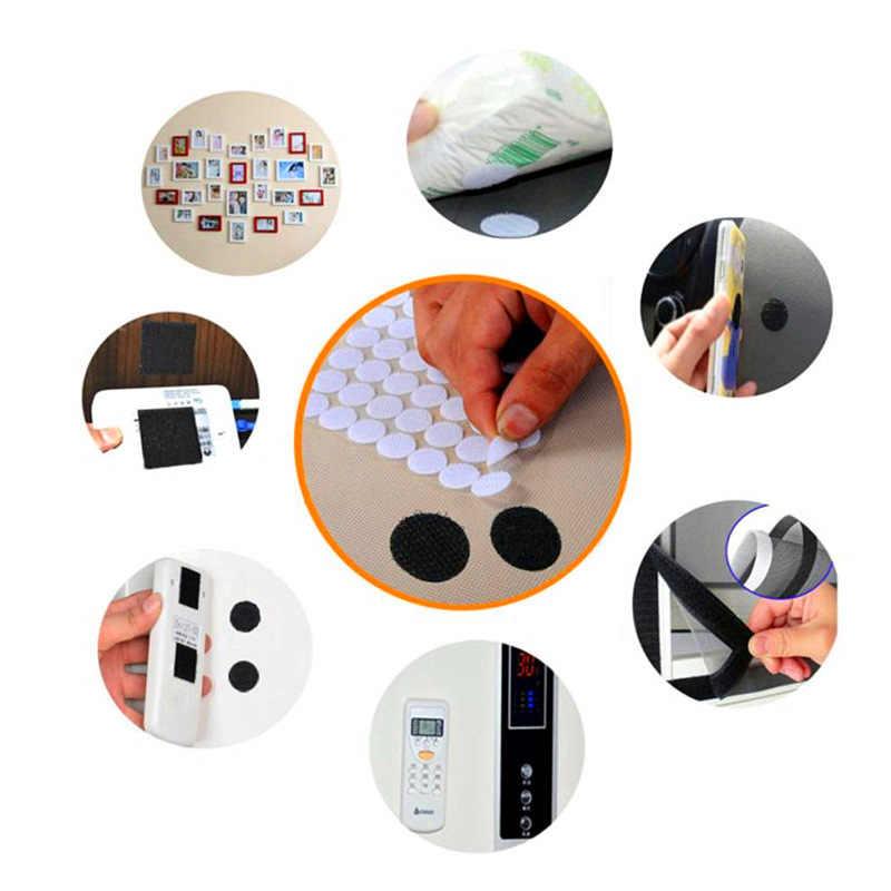 จุดสีดำสีขาวสติกเกอร์ Magic Tape Nylon Hook และ Loop เทป Flex กาว Self Adhesive Boob เทป 10/ 15/20/25 มม. 50 คู่