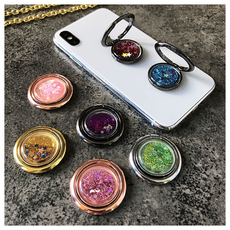 Novelty Metallic Shine Glitters Alloy Ring Stand Holder Quicksands Sticker For IPhone IPad Huawei Cellphone Accessories
