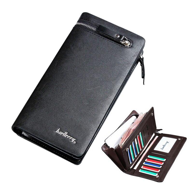 5c60a87d23ff2 Baellerry Yeni Uzun tarzı erkek deri cüzdan sikke çanta Iş Çanta cep  telefon cebi ile Kart sahipleri için adam 3 renk