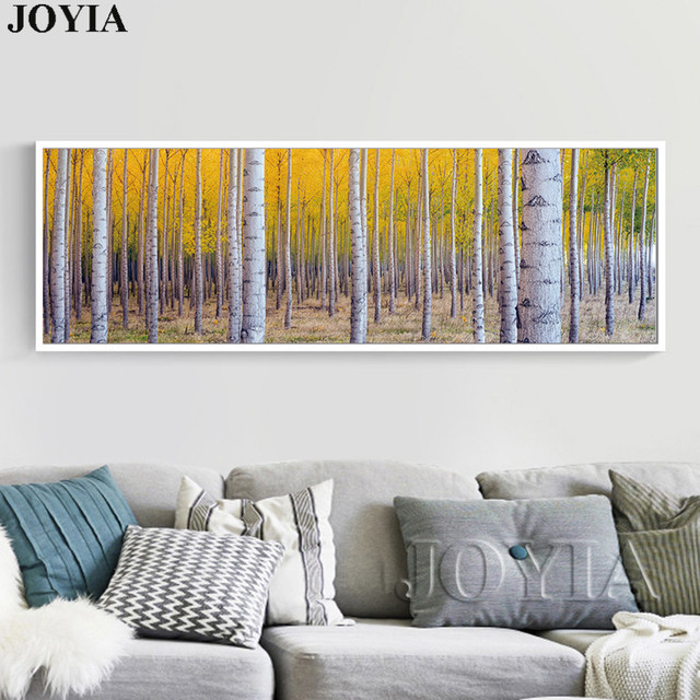 Us 3 25 30 Off Large White Birch Painting Tree Forest Picture Trees Wall Art Canvas For Modern Bedroom Living Room Wall Decoration No Frame In