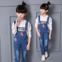 Children S Clothing 2016 Spring And Autumn Clothing Long Trousers Female Child Jeans Child Bib Pants