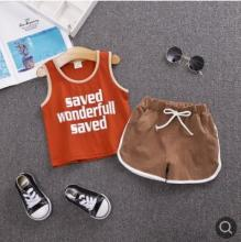 Kids Clothes Set 2019 Summer New Children Sleeveless Vest Suit Letter Cotton Baby Boy Girl Clothes Set for 0-4 Year SY-F192242 hot sale 2016 new style letter fashion children boy girl baseball uniform 100% cotton active kids clothes set