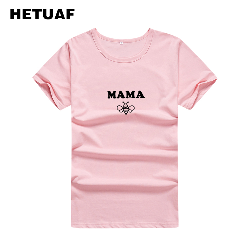 HETUAF 2018 Kawaii MAMA BEES Graphic Tees Women Funny Summer Tops Tshirts Cotton Women Harajuku Hippie T-shirt Women Big Size