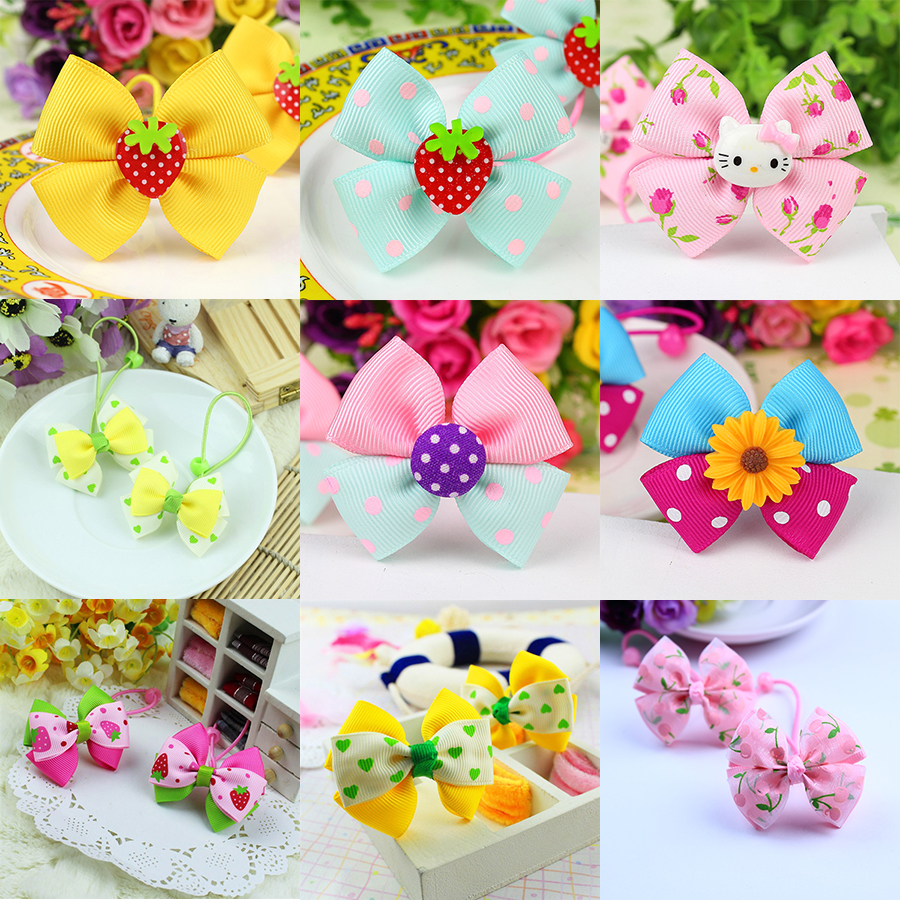 New Cute Children Headdress Girls Tie Hair Ropes   Headwear   Bowknot Baby Hair Accessories Ponytail Holder Elastic Hair Bands