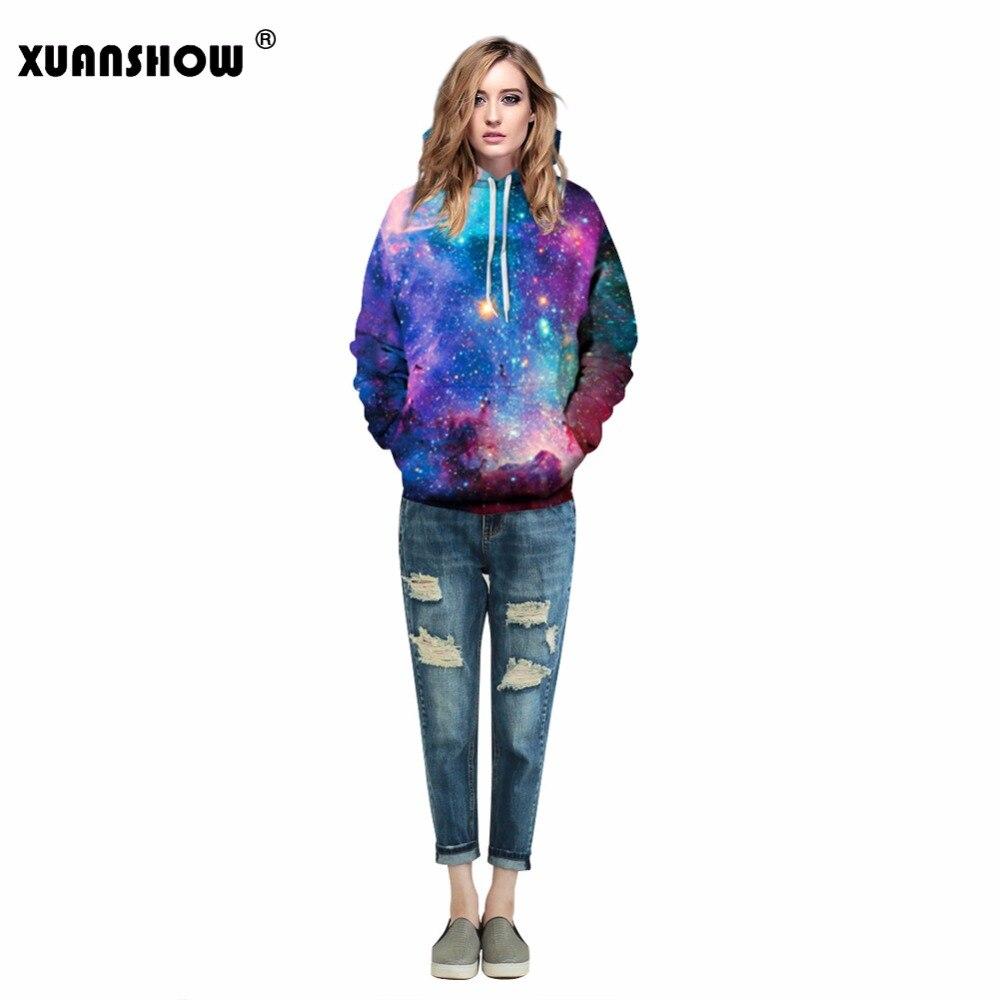 XUANSHOW Couples Men Women Realistic 3D Digital Graphic Print Star Sky Hoodie Sweatshirt Jacket Pullover Loose Tops