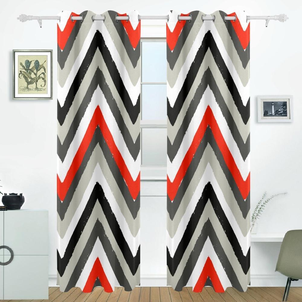 Watercolor Cheevron Curtains Drapes Panel Darkening
