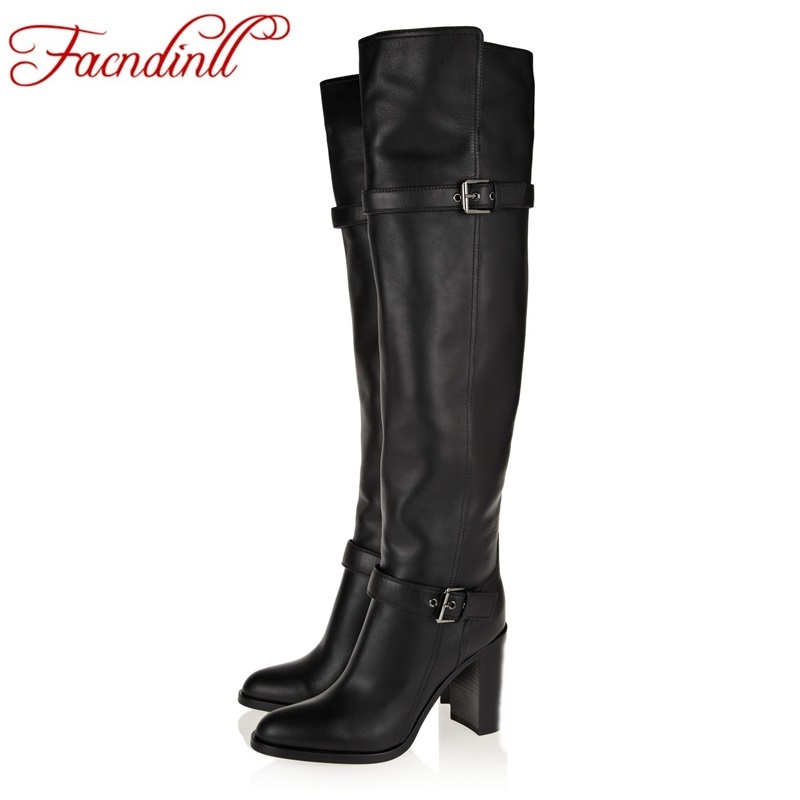 FACNDINLL shoes 2017 autumn winter women over the knee boots european and american style black hoof high heels warm snow boots цены онлайн