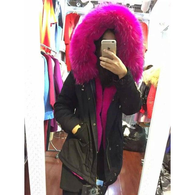 Rose Fourrure Fausse Mode Vêtements Noir En D'hiver Doublure De YwawqBt