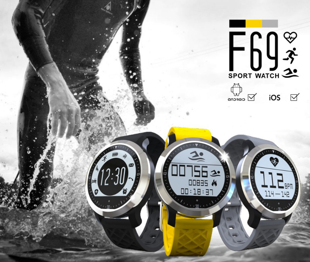 Heart Rate Monitor Bluetooth Smartwatch F69 Sport Swimming Waterproof Watch Pulsometer Smart Watches For Apple iPhone Android  (1)