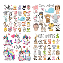 Iron on Transfer Cute Animals Patches for Kids Clothing DIY T-shirt Applique Heat Vinyl Unicorn Dog Owl Patch Stickers