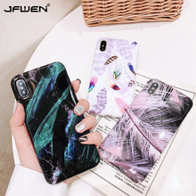 Soft TPU Phone Case For iPhone XS Max XR Case Silicone Feather Back Cover For Coque iPhone 7 8 6 6S Plus X XS Max XR Case Cover flower printed shell finger ring stand phone case for iphone x xr xs max soft tpu cover for iphone 7 8 plus 6 6s gli case coque