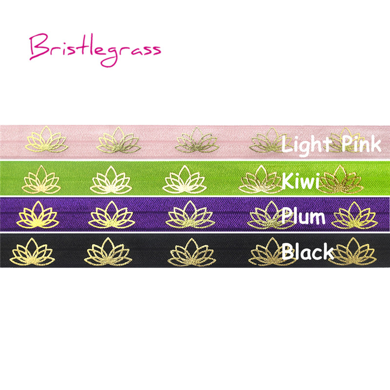 BRISTLEGRASS 5 Yard 5/8 15mm Gold Lotus Foil Print Shiny Fold Over Elastics FOE Spandex Band Headband Hairband Dress DIY Sewing