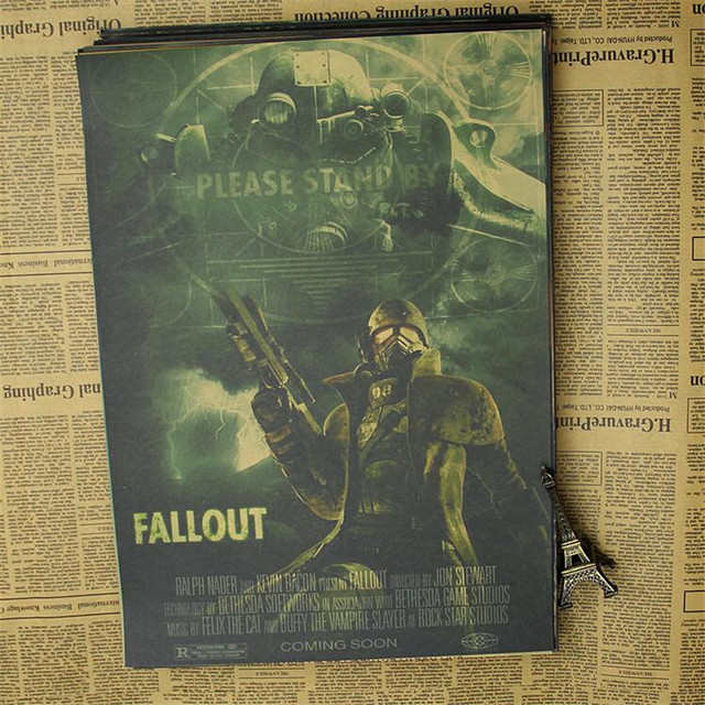 Vintage Fallout 3 4 Game Poster Bar Kids Room Home Decor Game Drawing Retro Kraft Paper Wall Sticker Decoration
