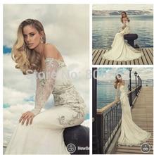casamento vestido de noiva 2014 new fashionable sexy long sleeve crystal lace mermaid wedding dress bridal gown free shipping