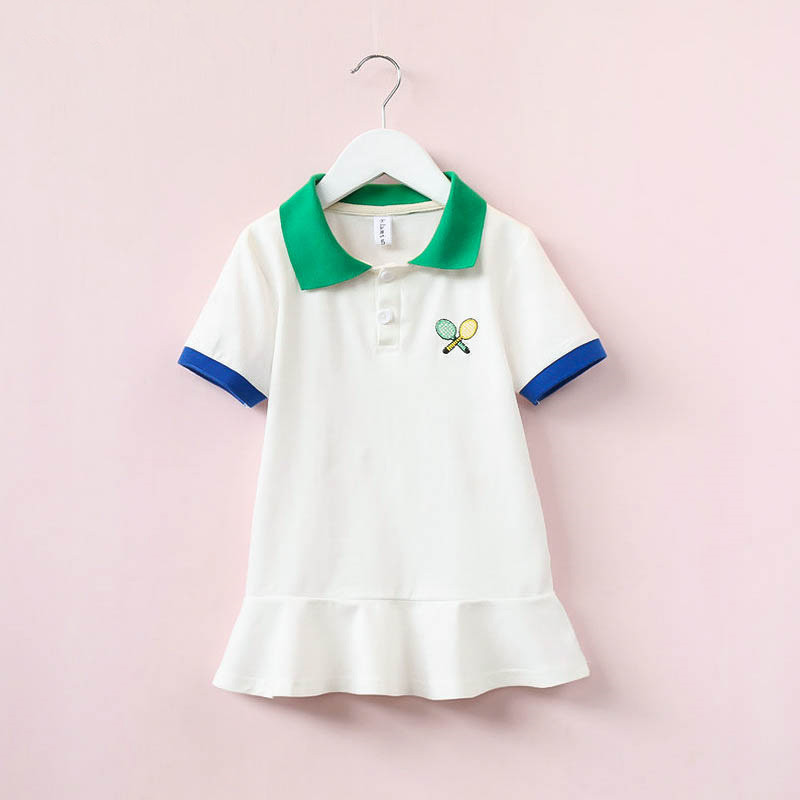 Hurave Baby Girl Lapel Embroidered Tennis Dress children Lotus Leaf Hem Short Sleeve Sports Dresses Kids Clothes For 2-8 Years