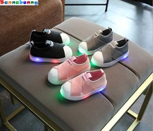 Kids Shoes With Light Boys Shoes Children Canvas Sport Led Girls Princess Shoes Baby Boys Sneakers EU Size 21-30